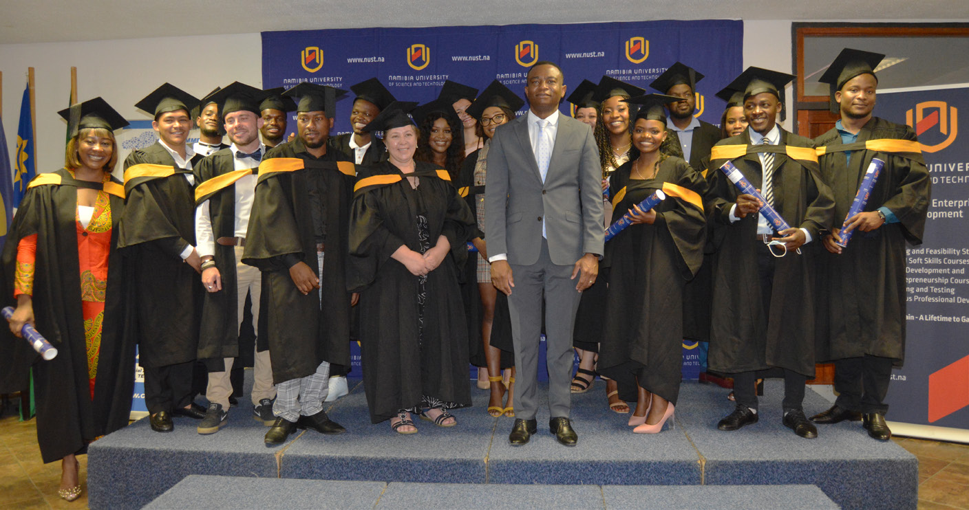The Commercial Advancement Training Scheme graduates captured with NUST's Vice-Chancellor, Dr Erold Naomab.