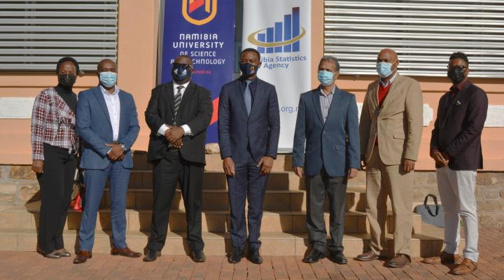 From left to right: Zuvee Kahitu, Senior Statistician: Agriculture at NSA; Abel Sindano, Executive: Economics at NSA; Alex Shimuafeni, Statistician-General & CEO of NSA; Dr Erold Naomab, NUST Vice-Chancellor; Prof Pramanathan Govender, NUST Deputy Vice-Chancellor: Research and Innovation; Dr Erling Kavita, NUST Acting Special Advisor to the Vice-Chancellor; Dr Colin Stanley, NUST Acting Dean of Computing and Informatics.