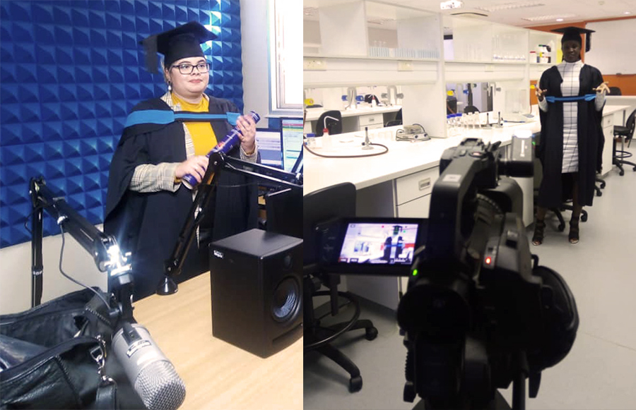 On the left, a student from the Faculty of Human Sciences delivering her message to other graduates, and on the right, a student from the Faculty of Health and Applied Sciences.