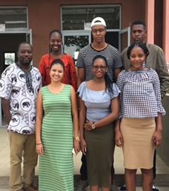 Nkululeko Mthembo, Informatics Lecturer: NUST (far left), pictured with students.